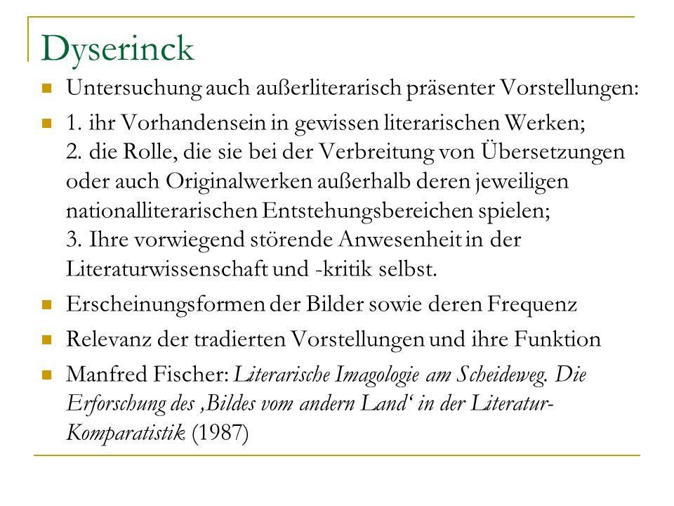 Dyserinck Untersuchung auch außerliterarisch präsenter Vorstellungen: 1. ihr Vorhandensein in gewissen literarischen Werken; 2. die Rolle, die sie bei