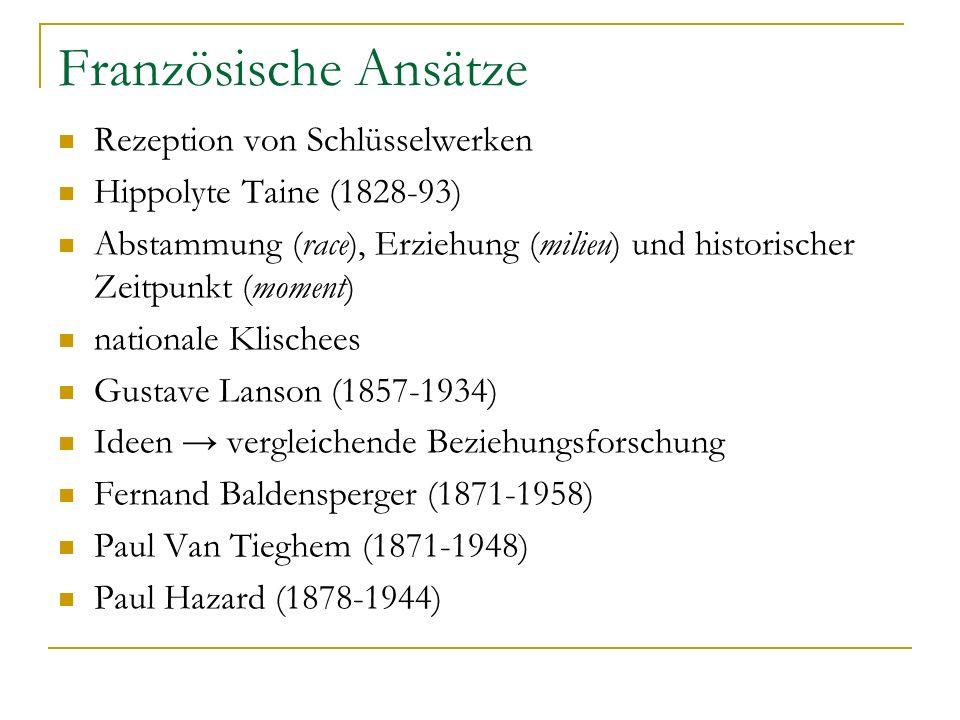 Französische Ansätze Rezeption von Schlüsselwerken Hippolyte Taine (1828-93) Abstammung (race), Erziehung (milieu) und historischer Zeitpunkt (moment)