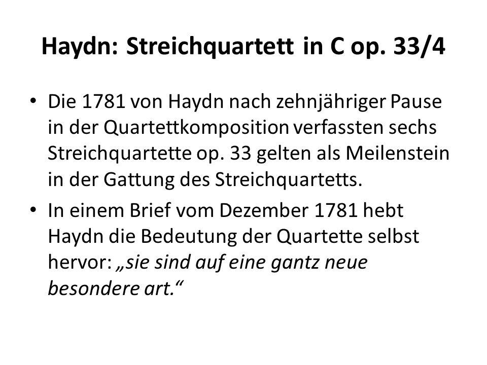 Haydn: Streichquartett in C op.33/4 Haydns Quartett in C-Dur op.