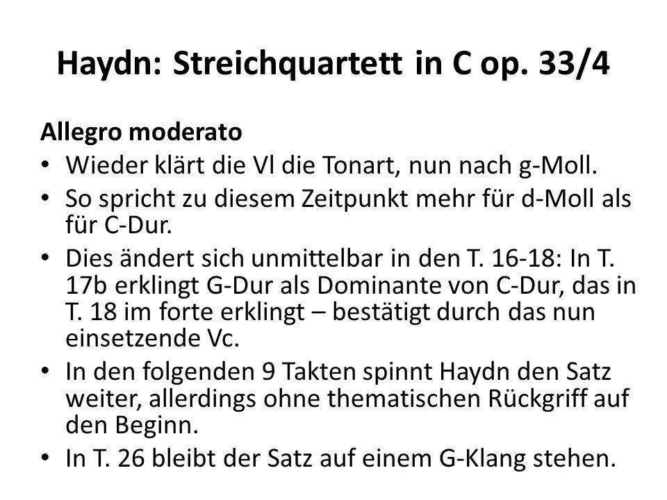 Haydn: Streichquartett in C op.33/4 Allegro moderato Die nächsten 15 Takte von T.
