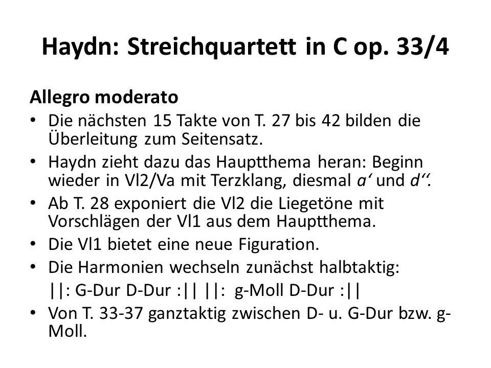 Haydn: Streichquartett in C op.33/4 Allegro moderato T.