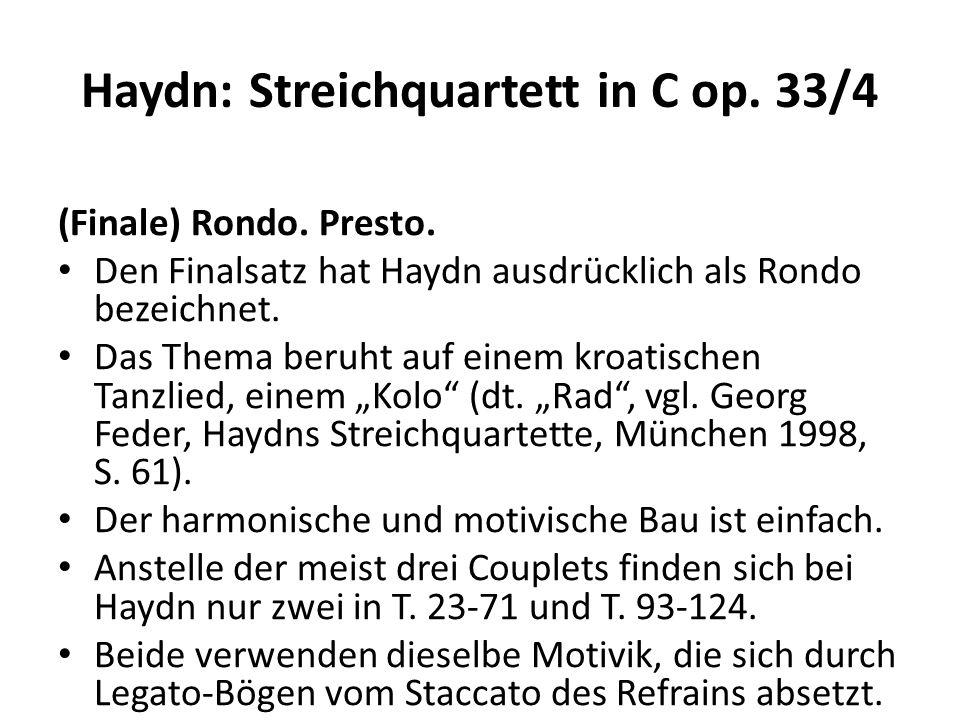 Haydn: Streichquartett in C op.33/4 (Finale) Rondo.