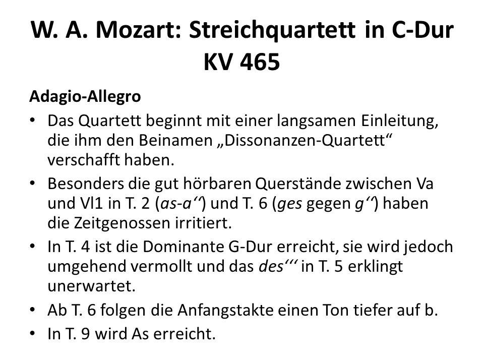 W.A. Mozart: Streichquartett in C-Dur KV 465 Adagio-Allegro In T.