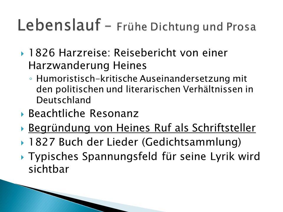 Kann keiner eindeutigen literarischen Strömung zugeordnet werden Überwindet Romantik Elemente aus Aufklärung, Weimarer Klassik, Realismus, Symbolismus Politisch kritischer Autor Streben nach politischer Veränderung hin zu mehr Demokratie Im Dritten Reich waren Heinrich Heines Werke verboten