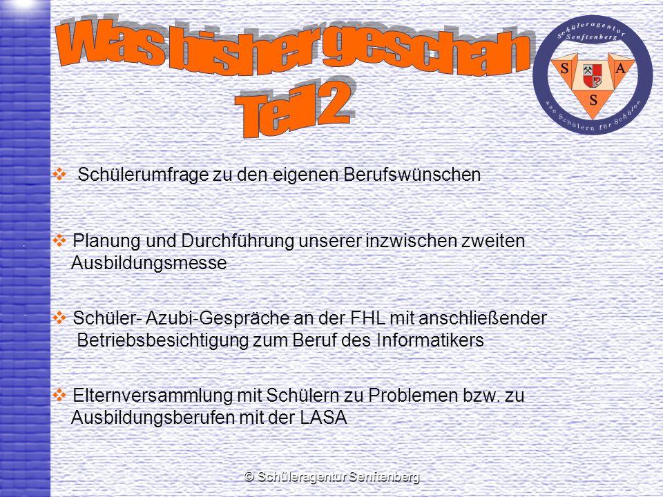 © Schüleragentur Senftenberg Schülerumfrage zu den eigenen Berufswünschen Planung und Durchführung unserer inzwischen zweiten Ausbildungsmesse Schüler