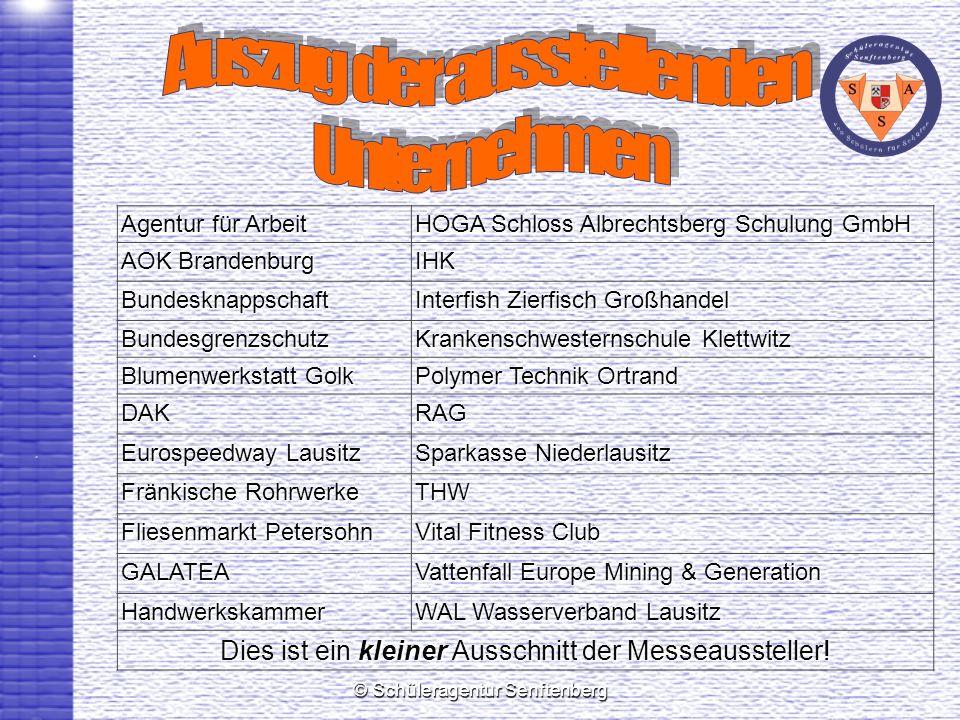 © Schüleragentur Senftenberg Agentur für Arbeit HOGA Schloss Albrechtsberg Schulung GmbH AOK Brandenburg IHK Bundesknappschaft Interfish Zierfisch Gro