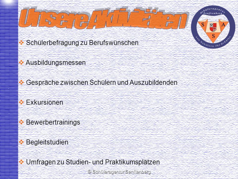 © Schüleragentur Senftenberg Schülerbefragung zu Berufswünschen Ausbildungsmessen Gespräche zwischen Schülern und Auszubildenden Exkursionen Bewerbertrainings Begleitstudien Umfragen zu Studien- und Praktikumsplätzen