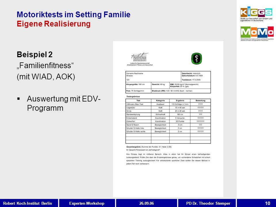 10 Experten-WorkshopRobert Koch-Institut Berlin26.09.06PD Dr. Theodor Stemper Motoriktests im Setting Familie Eigene Realisierung Beispiel 2 Familienf