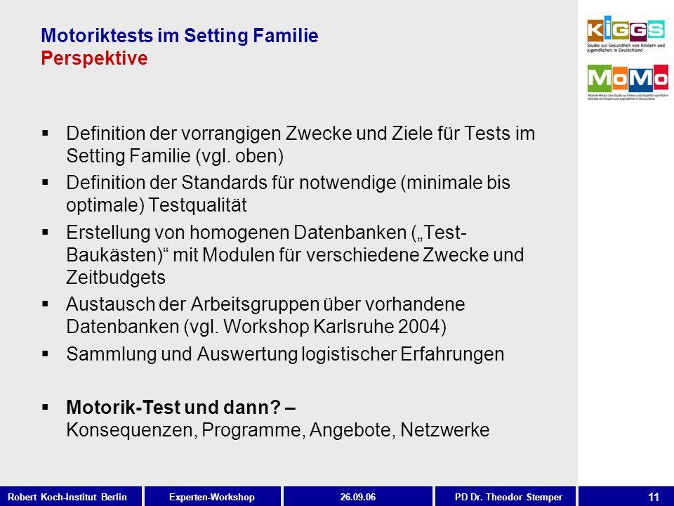 11 Experten-WorkshopRobert Koch-Institut Berlin26.09.06PD Dr. Theodor Stemper Motoriktests im Setting Familie Perspektive Definition der vorrangigen Z