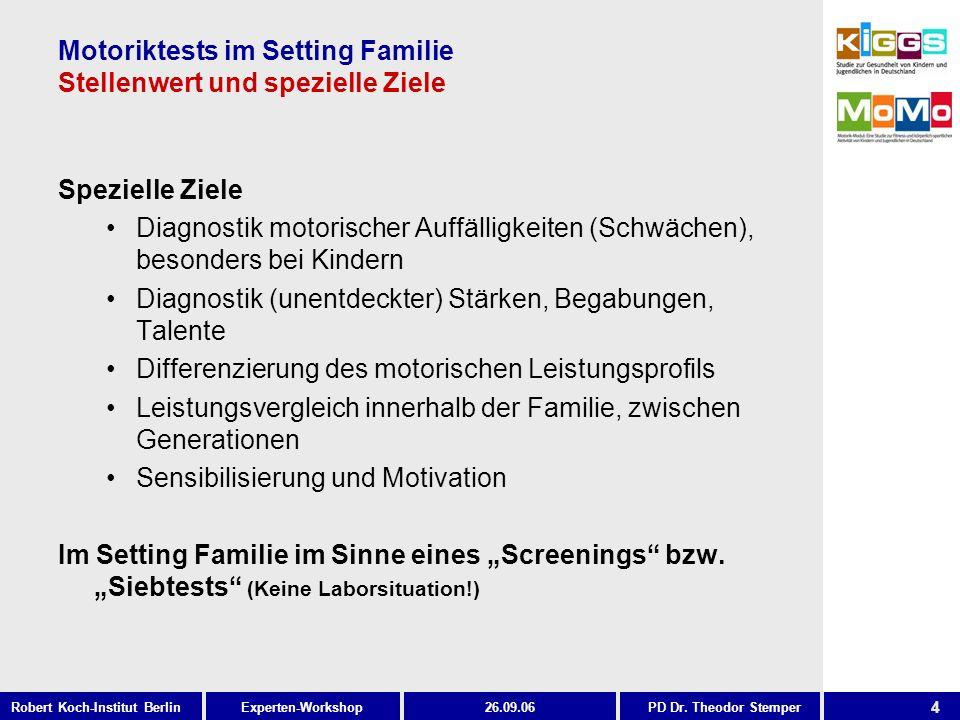 4 Experten-WorkshopRobert Koch-Institut Berlin26.09.06PD Dr. Theodor Stemper Motoriktests im Setting Familie Stellenwert und spezielle Ziele Spezielle