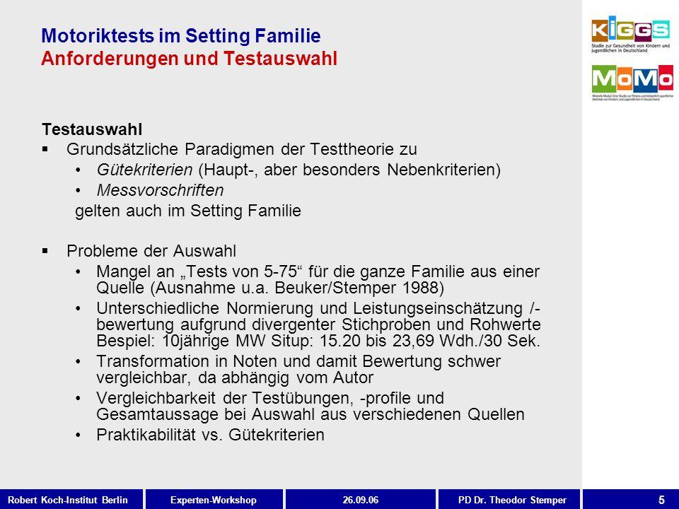 5 Experten-WorkshopRobert Koch-Institut Berlin26.09.06PD Dr. Theodor Stemper Motoriktests im Setting Familie Anforderungen und Testauswahl Testauswahl
