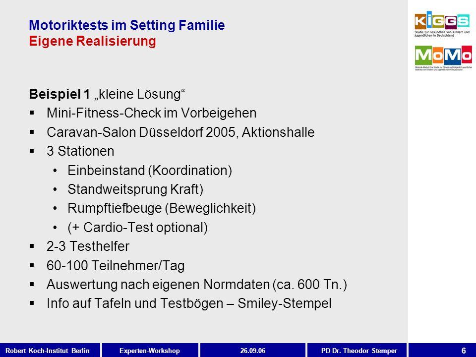 6 Experten-WorkshopRobert Koch-Institut Berlin26.09.06PD Dr. Theodor Stemper Motoriktests im Setting Familie Eigene Realisierung Beispiel 1 kleine Lös
