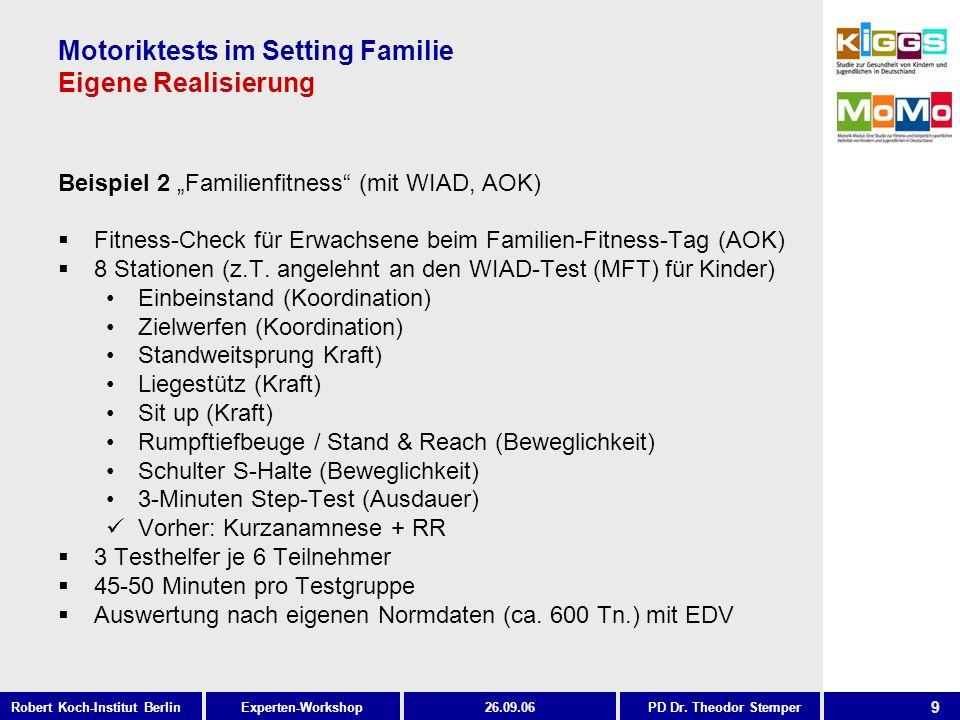 9 Experten-WorkshopRobert Koch-Institut Berlin26.09.06PD Dr. Theodor Stemper Motoriktests im Setting Familie Eigene Realisierung Beispiel 2 Familienfi