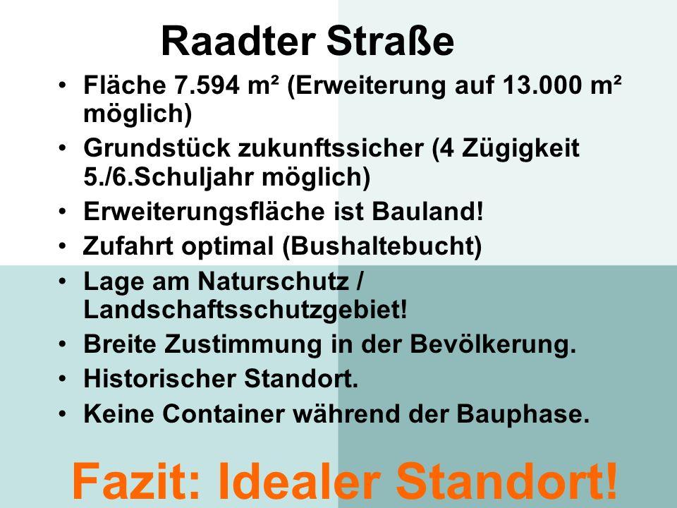 Raadter Straße Fläche 7.594 m² (Erweiterung auf 13.000 m² möglich) Grundstück zukunftssicher (4 Zügigkeit 5./6.Schuljahr möglich) Erweiterungsfläche i