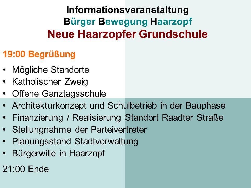 Informationsveranstaltung Bürger Bewegung Haarzopf Neue Haarzopfer Grundschule 19:00 Begrüßung Mögliche Standorte Katholischer Zweig Offene Ganztagssc