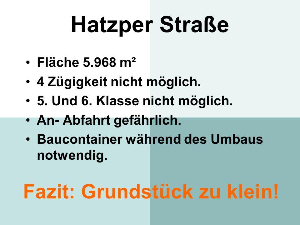 Hatzper Straße Fläche 5.968 m² 4 Zügigkeit nicht möglich. 5. Und 6. Klasse nicht möglich. An- Abfahrt gefährlich. Baucontainer während des Umbaus notw