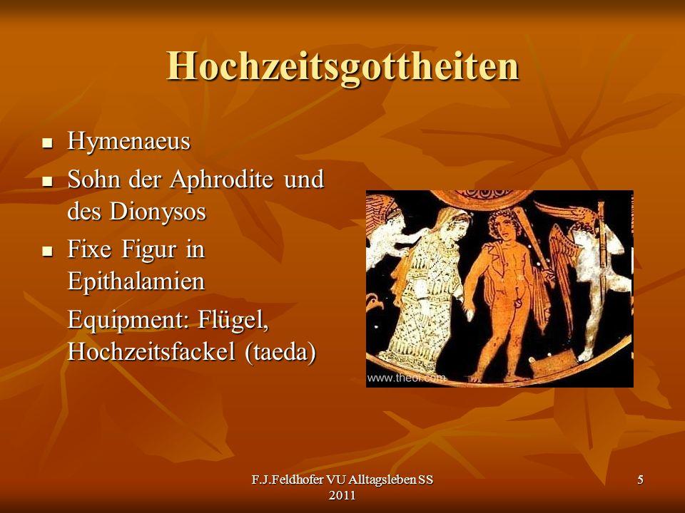 Hochzeitsgottheiten Hymenaeus Hymenaeus Sohn der Aphrodite und des Dionysos Sohn der Aphrodite und des Dionysos Fixe Figur in Epithalamien Fixe Figur