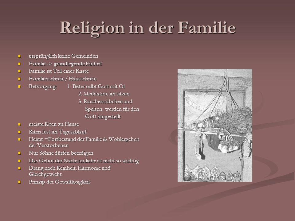 ursprünglich keine Gemeinden ursprünglich keine Gemeinden Familie -> grundlegende Einheit Familie -> grundlegende Einheit Familie ist Teil einer Kaste Familie ist Teil einer Kaste Familienschrein/ Hausschrein Familienschrein/ Hausschrein Betvorgang: 1.