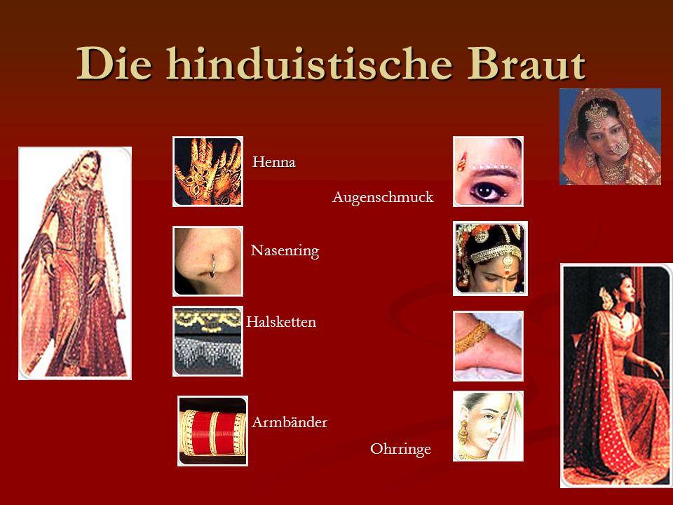 Die hinduistische Braut Henna Henna Nasenring Halsketten Armbänder Augenschmuck Ohrringe
