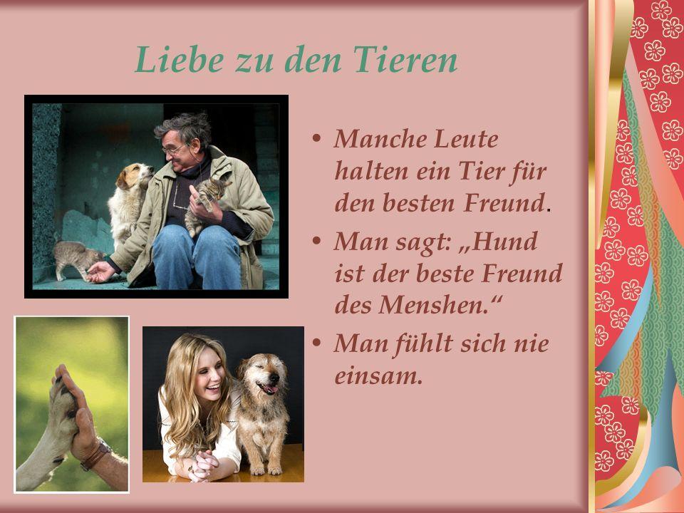 Liebe zu den Tieren Manche Leute halten ein Tier für den besten Freund. Man sagt: Hund ist der beste Freund des Menshen. Man fühlt sich nie einsam.