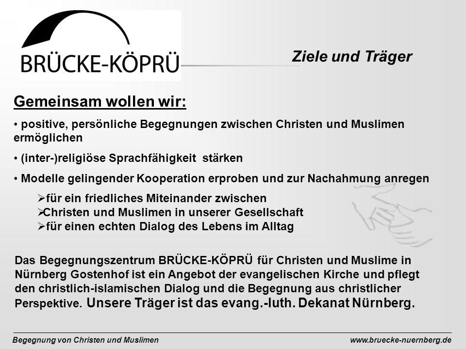 Begegnung von Christen und Muslimenwww.bruecke-nuernberg.de Gemeinsam wollen wir: positive, persönliche Begegnungen zwischen Christen und Muslimen ermöglichen (inter-)religiöse Sprachfähigkeit stärken Modelle gelingender Kooperation erproben und zur Nachahmung anregen für ein friedliches Miteinander zwischen Christen und Muslimen in unserer Gesellschaft für einen echten Dialog des Lebens im Alltag Das Begegnungszentrum BRÜCKE-KÖPRÜ für Christen und Muslime in Nürnberg Gostenhof ist ein Angebot der evangelischen Kirche und pflegt den christlich-islamischen Dialog und die Begegnung aus christlicher Perspektive.