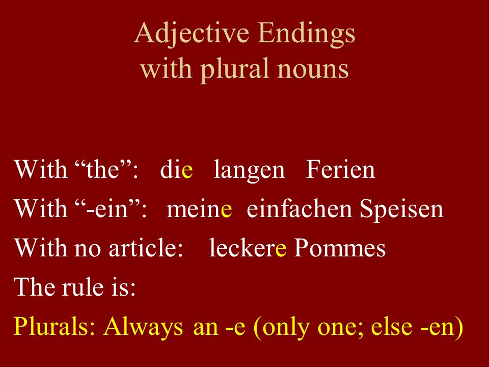 Adjective Endings with plural nouns With the: die langen Ferien With -ein: meine einfachen Speisen With no article: leckere Pommes The rule is: Plural