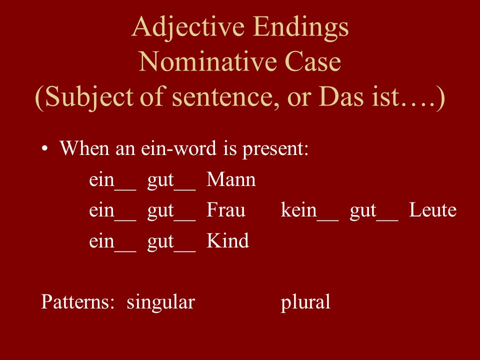 Adjective Endings Nominative Case (Subject of sentence, or Das ist….) When an ein-word is present: ein__ gut__ Mann ein__ gut__ Fraukein__ gut__ Leute ein__ gut__ Kind Patterns: singularplural