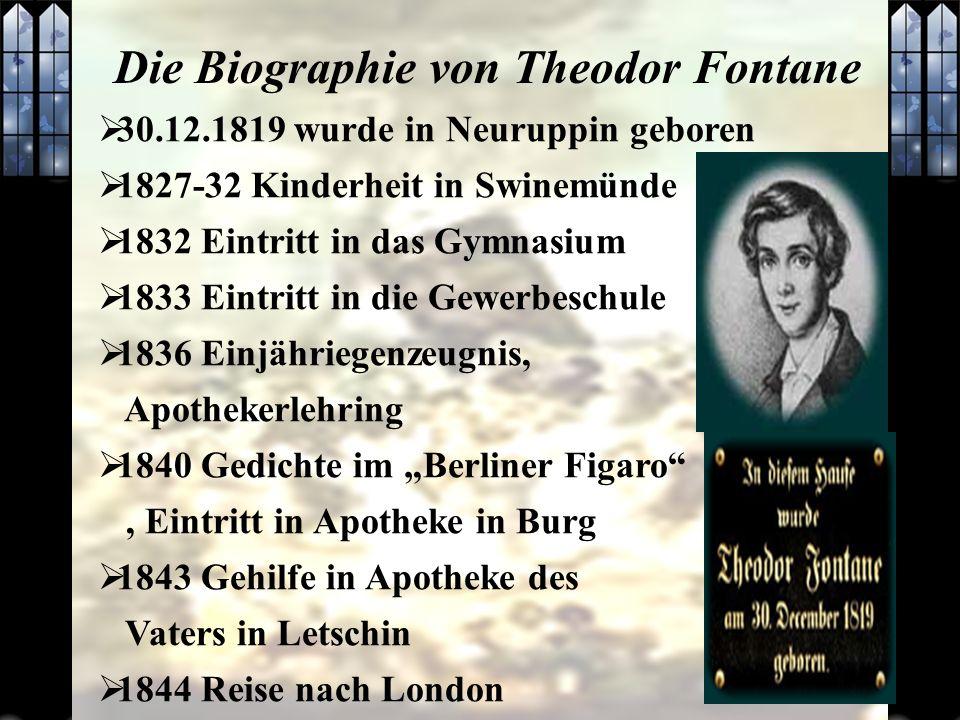 30.12.1819 wurde in Neuruppin geboren 1827-32 Kinderheit in Swinemünde 1832 Eintritt in das Gymnasium 1833 Eintritt in die Gewerbeschule 1836 Einjähri
