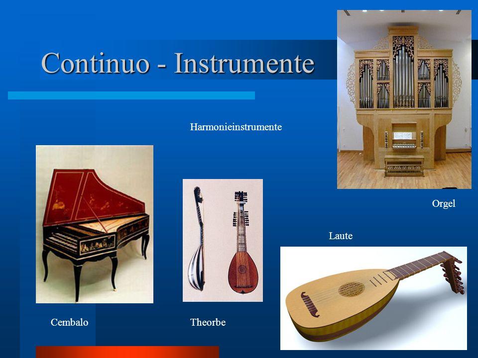 Continuo - Instrumente Harmonieinstrumente CembaloTheorbe Orgel Laute