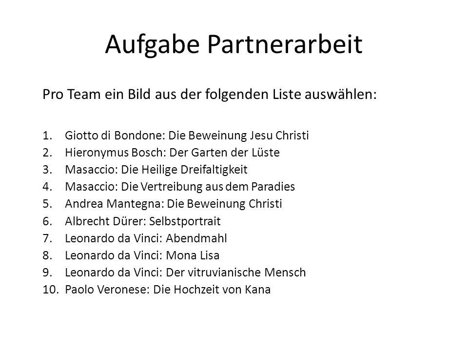 Aufgabe Partnerarbeit Pro Team ein Bild aus der folgenden Liste auswählen: 1.Giotto di Bondone: Die Beweinung Jesu Christi 2.Hieronymus Bosch: Der Gar
