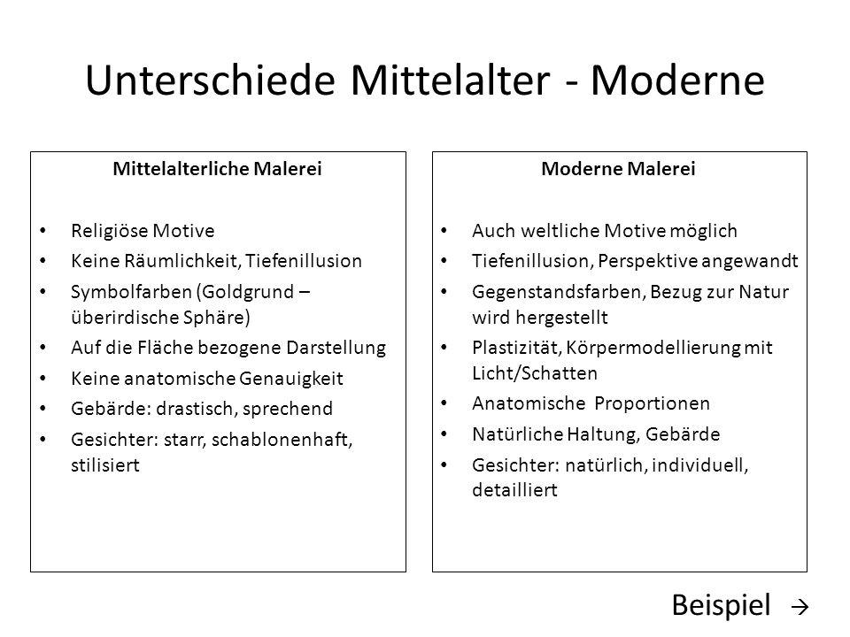 Unterschiede Mittelalter - Moderne Mittelalterliche Malerei Religiöse Motive Keine Räumlichkeit, Tiefenillusion Symbolfarben (Goldgrund – überirdische