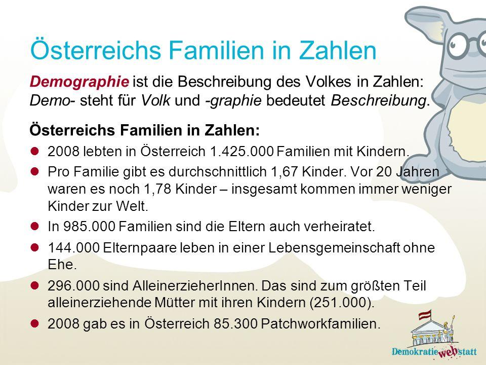 Österreichs Familien in Zahlen Demographie ist die Beschreibung des Volkes in Zahlen: Demo- steht für Volk und -graphie bedeutet Beschreibung. Österre