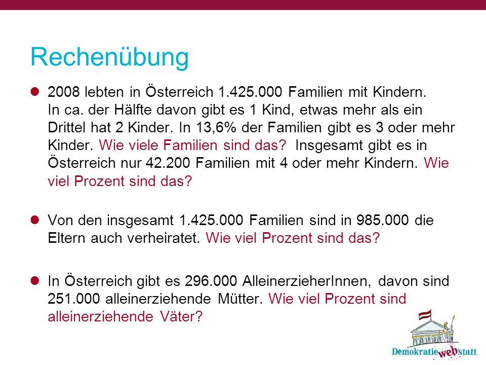 Rechenübung 2008 lebten in Österreich 1.425.000 Familien mit Kindern. In ca. der Hälfte davon gibt es 1 Kind, etwas mehr als ein Drittel hat 2 Kinder.