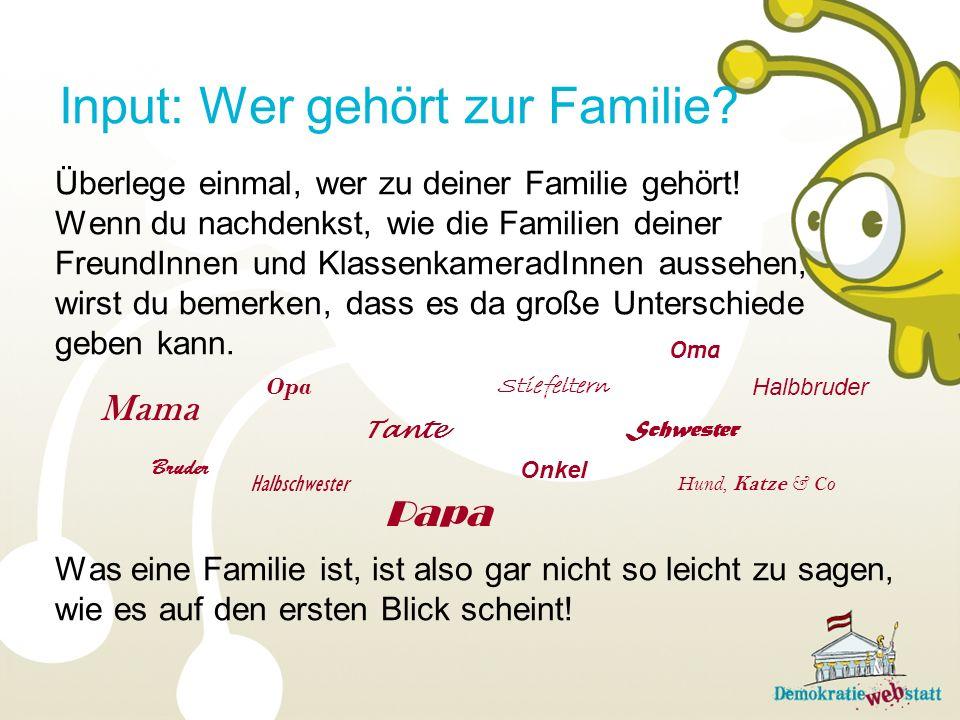 Input: Wer gehört zur Familie? Überlege einmal, wer zu deiner Familie gehört! Wenn du nachdenkst, wie die Familien deiner FreundInnen und Klassenkamer