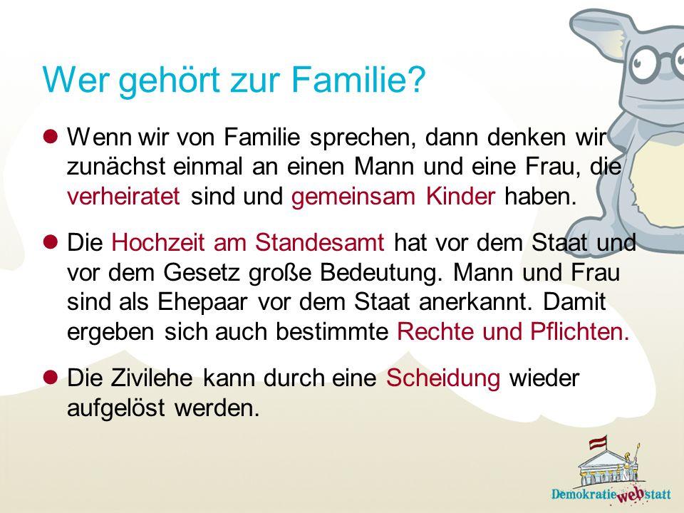 Wer gehört zur Familie.Rechte und Pflichten gelten auch zwischen den Eltern und ihren Kindern.