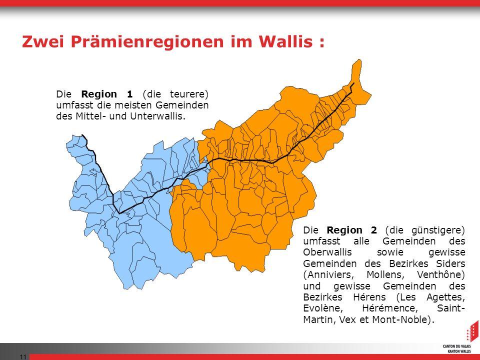 11 Die Region 1 (die teurere) umfasst die meisten Gemeinden des Mittel- und Unterwallis.
