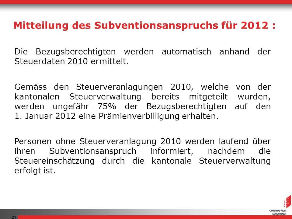 21 Die Bezugsberechtigten werden automatisch anhand der Steuerdaten 2010 ermittelt.
