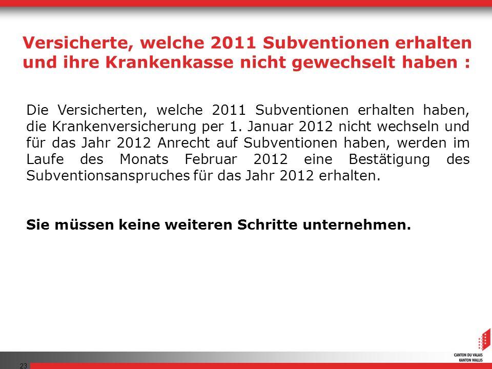 23 Die Versicherten, welche 2011 Subventionen erhalten haben, die Krankenversicherung per 1.