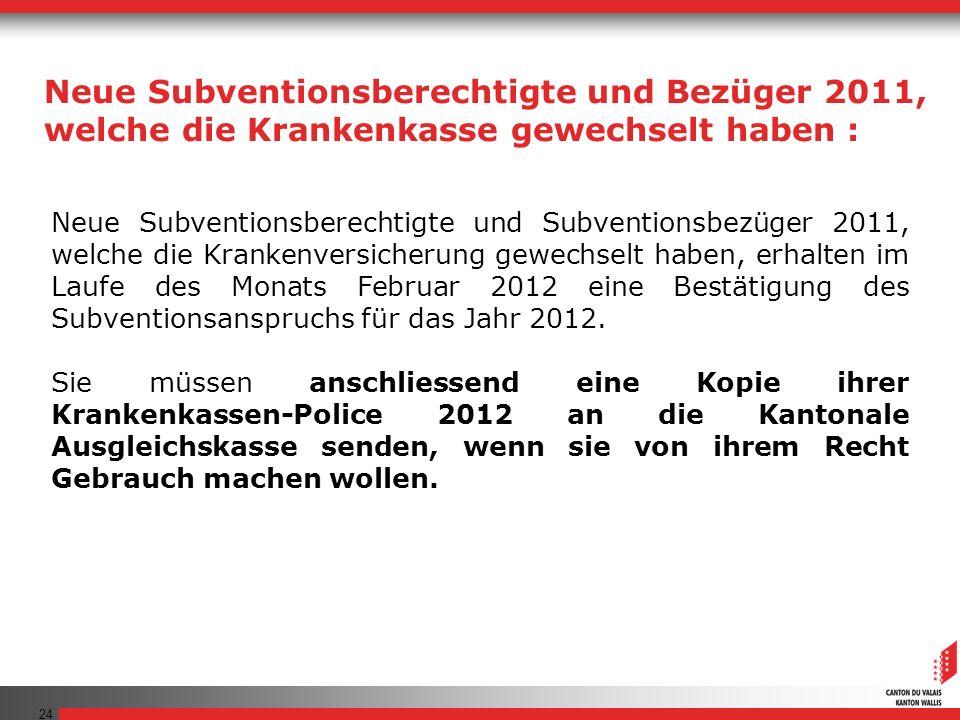 24 Neue Subventionsberechtigte und Subventionsbezüger 2011, welche die Krankenversicherung gewechselt haben, erhalten im Laufe des Monats Februar 2012 eine Bestätigung des Subventionsanspruchs für das Jahr 2012.
