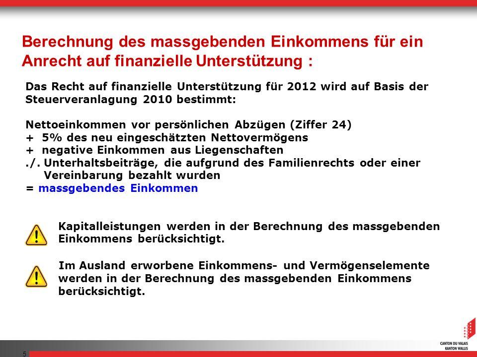 5 Das Recht auf finanzielle Unterstützung für 2012 wird auf Basis der Steuerveranlagung 2010 bestimmt: Nettoeinkommen vor persönlichen Abzügen (Ziffer 24) + 5% des neu eingeschätzten Nettovermögens + negative Einkommen aus Liegenschaften./.