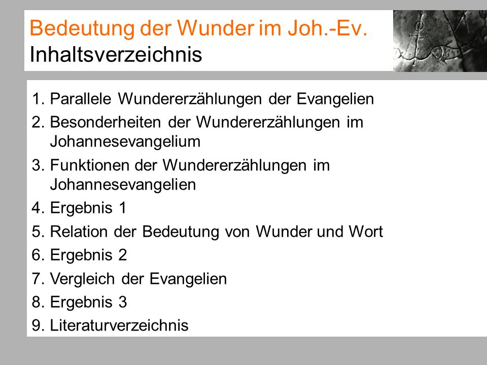 Bedeutung der Wunder im Joh.-Ev.