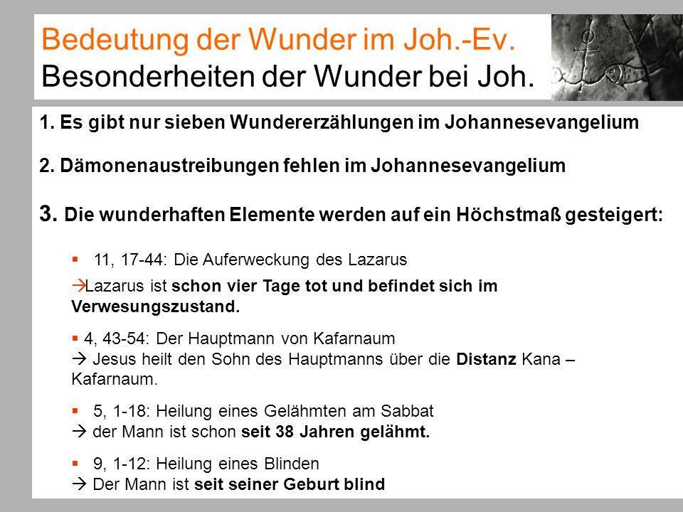 Bedeutung der Wunder im Joh.-Ev.Vergleich der Evangelien II c.