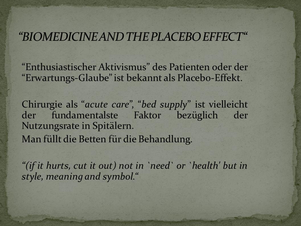 Enthusiastischer Aktivismus des Patienten oder der Erwartungs-Glaube ist bekannt als Placebo-Effekt.