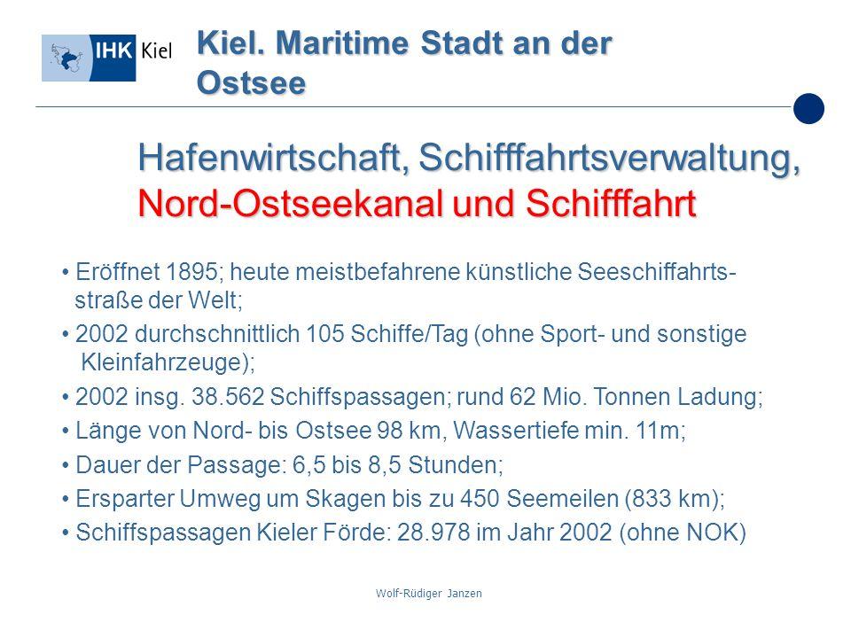 Wolf-Rüdiger Janzen Kiel. Maritime Stadt an der Ostsee Hafenwirtschaft, Schifffahrtsverwaltung, Nord-Ostseekanal und Schifffahrt Eröffnet 1895; heute