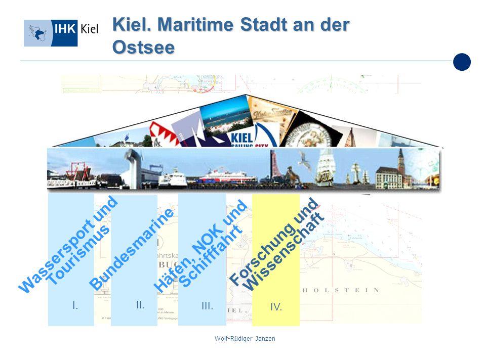 Wolf-Rüdiger Janzen Kiel. Maritime Stadt an der Ostsee I. II. III. IV. Bundesmarine Häfen, NOK und Schifffahrt Forschung und Wissenschaft Wassersport
