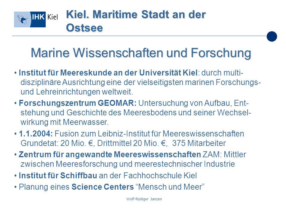 Wolf-Rüdiger Janzen Kiel. Maritime Stadt an der Ostsee Marine Wissenschaften und Forschung Institut für Meereskunde an der Universität Kiel: durch mul