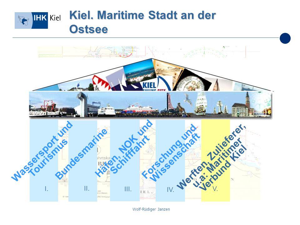 Wolf-Rüdiger Janzen Kiel. Maritime Stadt an der Ostsee I. II. III. IV. V. Bundesmarine Häfen, NOK und Schifffahrt Forschung und Wissenschaft Werften,