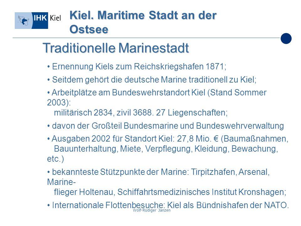 Wolf-Rüdiger Janzen Kiel. Maritime Stadt an der Ostsee Traditionelle Marinestadt Ernennung Kiels zum Reichskriegshafen 1871; Seitdem gehört die deutsc