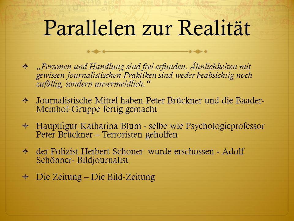 Parallelen zur Realität Personen und Handlung sind frei erfunden. Ähnlichkeiten mit gewissen journalistischen Praktiken sind weder beabsichtig noch zu