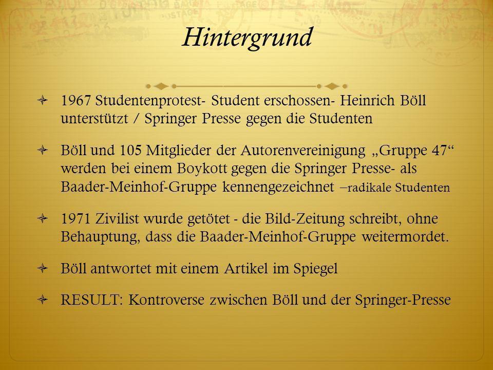 Hintergrund 1967 Studentenprotest- Student erschossen- Heinrich Böll unterstützt / Springer Presse gegen die Studenten Böll und 105 Mitglieder der Aut
